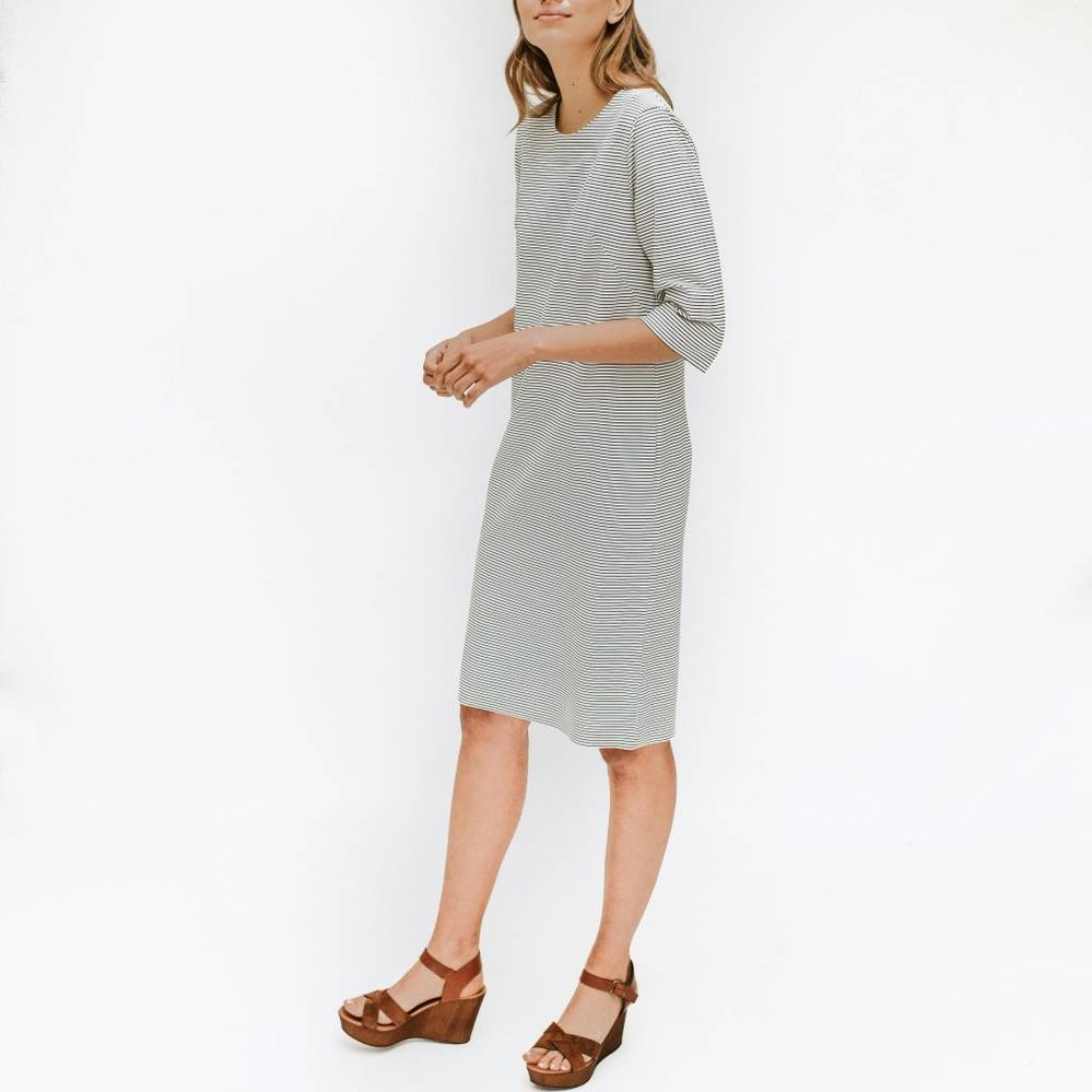 The perfect little striped dress in travel fabric