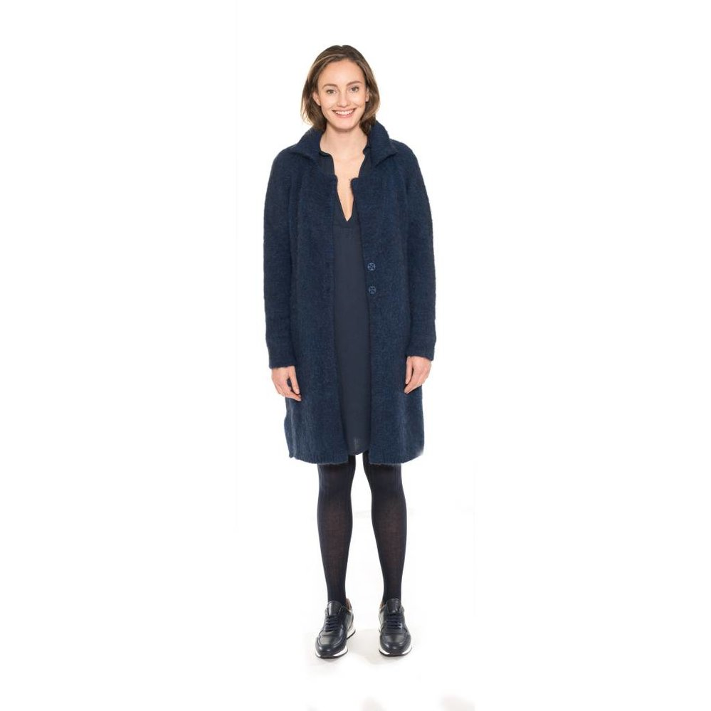 Shiftdress in viscose & wool blend with pockets