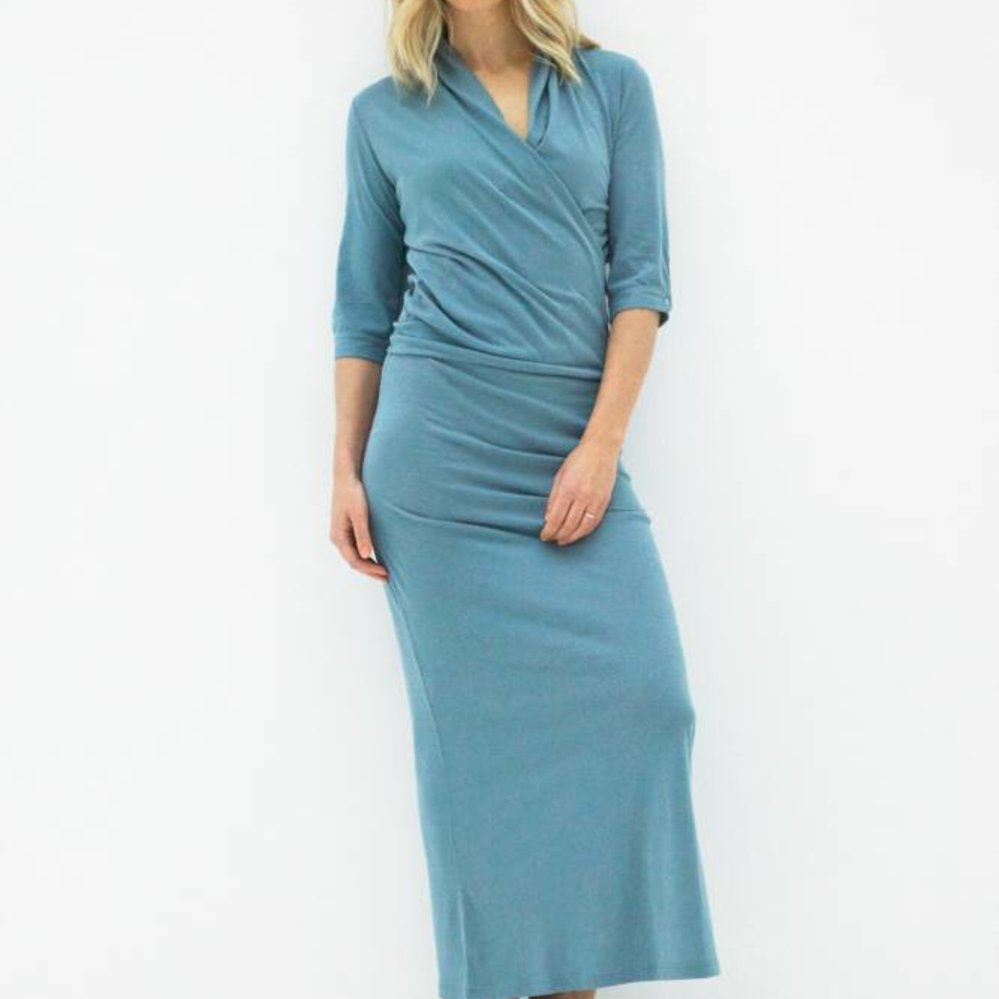 Cashmere cotton wrap dress; create your own length