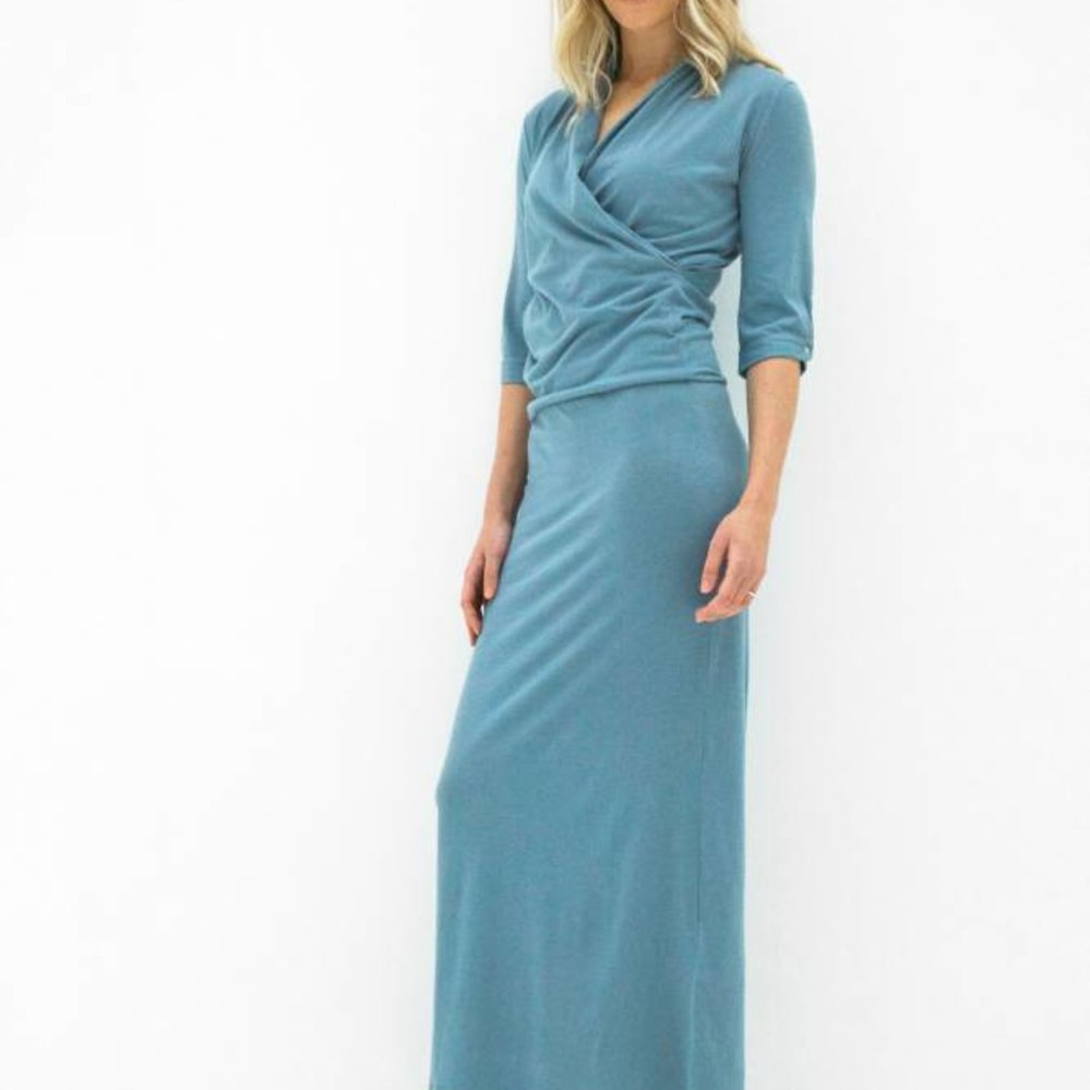 Cashmere cotton dress with adjustable length