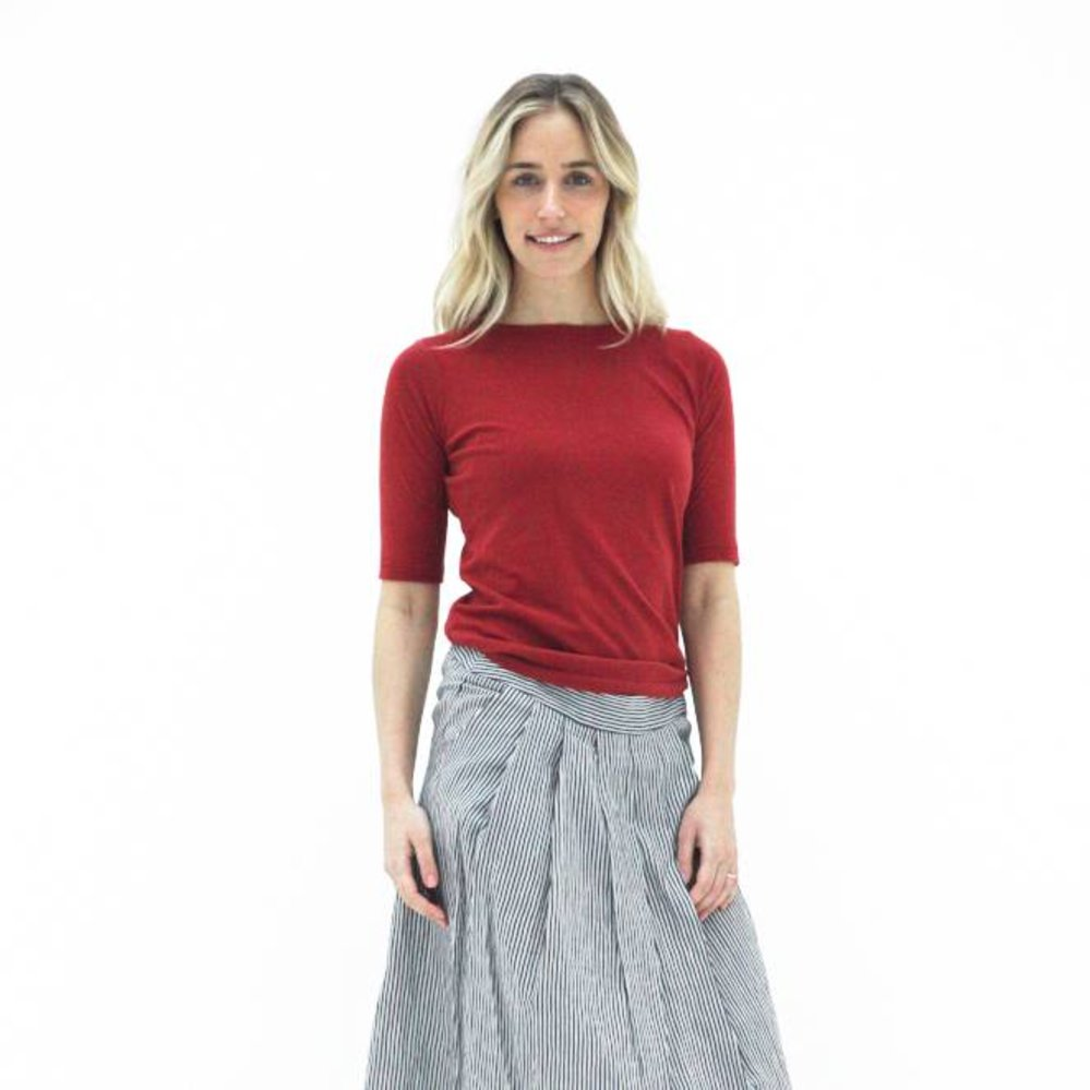 Boatneck t-shirt 1/2 sleeve cotton cashmere