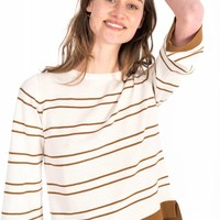debby vrouwen streep ecru-cognac
