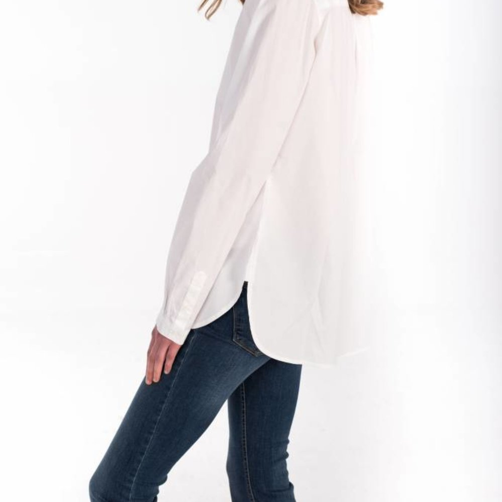 Feminine crispy cotton long blouse