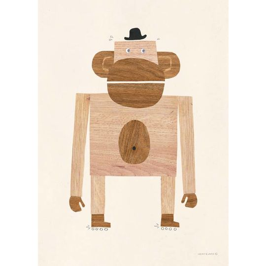 walnut & walrus wood monkey poster