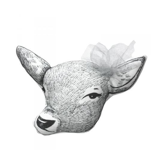 minimel deer cushion grey bow