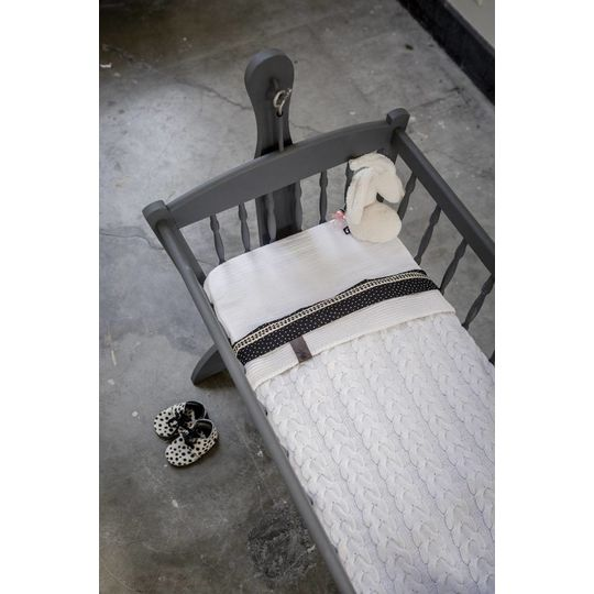mies & co baby crib blanket white blossom