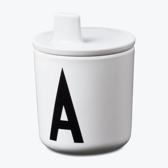 design letters deksel voor beker wit