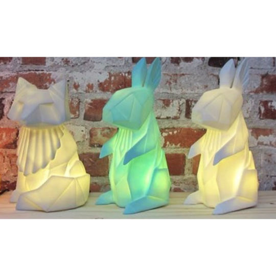 disaster designs origami rabbit lamp mint