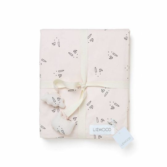 liewood duvet cover rabbit sweet pink - adult