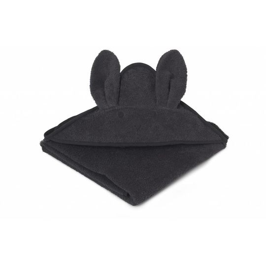 liewood towel rabbit dark grey 100x100