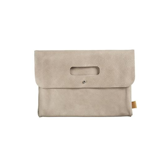 mies & co diaper clutch taupe leer