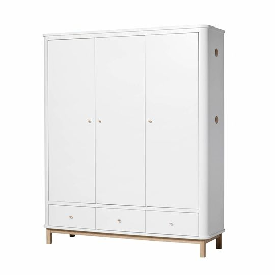 oliver furniture wardrobe 3 door oak / white