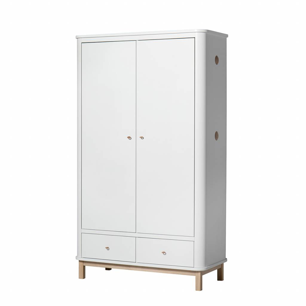 oliver furniture wood 2 door wardrobe oak white cozykidz. Black Bedroom Furniture Sets. Home Design Ideas