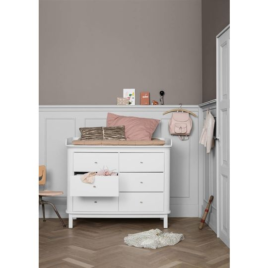 oliver furniture wood commode 6 lades wit + XL nursery top