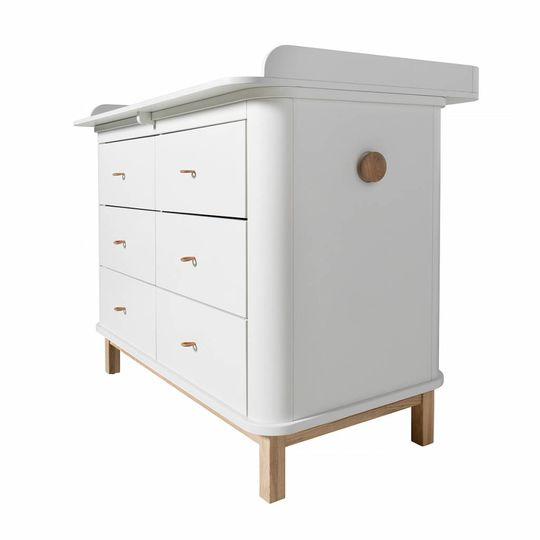 oliver furniture wood commode 6 lades eiken / wit + XL nursery top