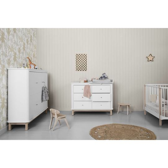 oliver furniture wood commode 6 lades eiken / wit + small nursery top