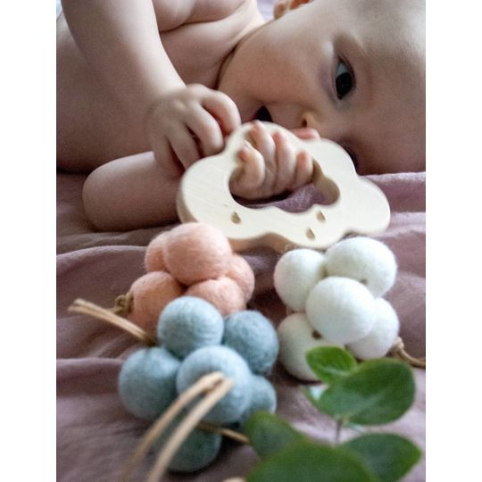 loullou 1st play wool clouds blue