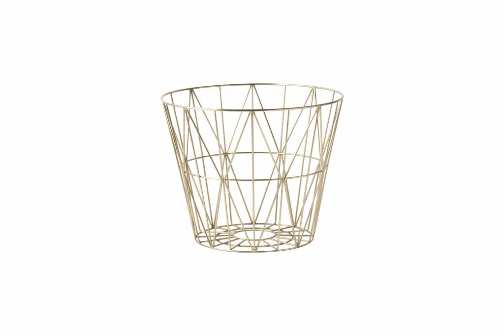 ferm living brass wire basket medium cozykidz. Black Bedroom Furniture Sets. Home Design Ideas