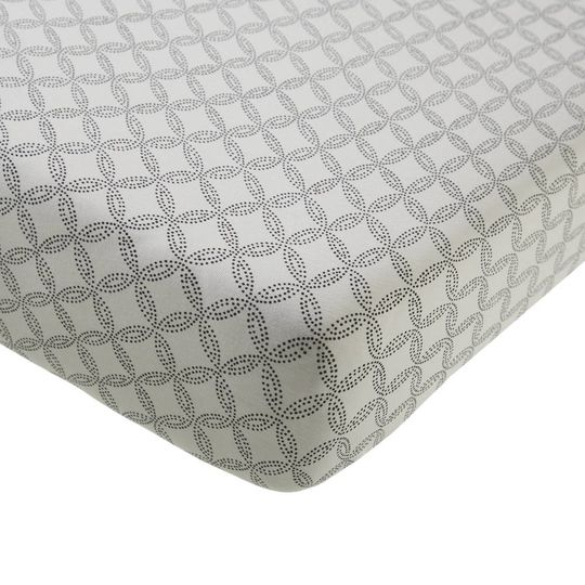 mies & co fitted sheet geo circles off white 60x120 cm