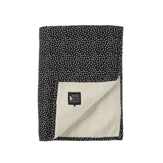 mies & co soft teddy blanket cozy dots black