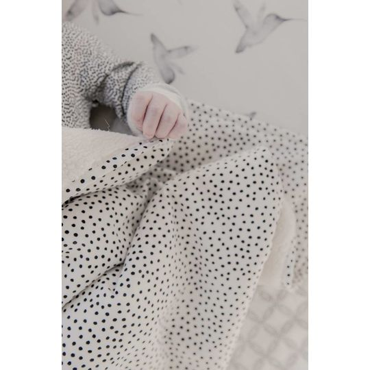 mies & co soft teddy blanket cozy dots offwhite