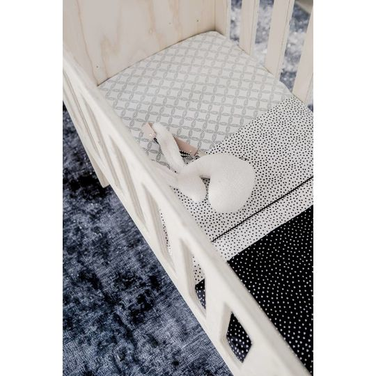 mies & co fitted sheet cradle geo circles off white 40x80 cm
