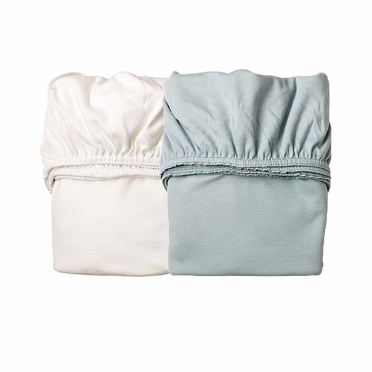 leander fitted sheets cradle set of 2 misty blue / white