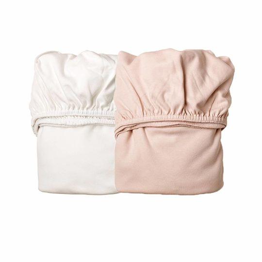 leander hoeslaken set wieg soft pink / wit