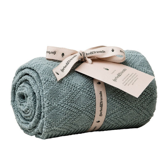 garbo&friends ollie teal cotton blanket