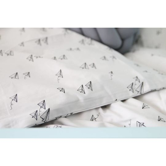 liewood duvet cover paperplane dumbo grey - baby