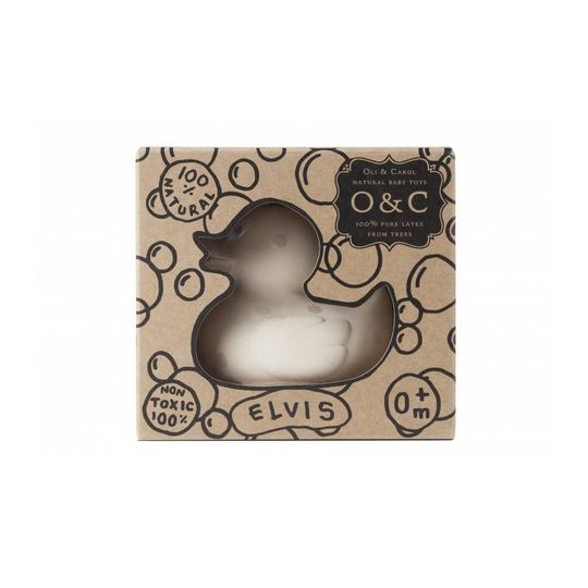 oli and carol rubber duck bathtoy / chewtoy silver polkadot