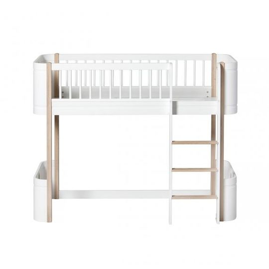 oliver furniture wood mini+ junior low loft bed eiken / wit