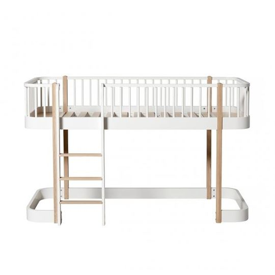 oliver furniture wood low loft bed oak / white