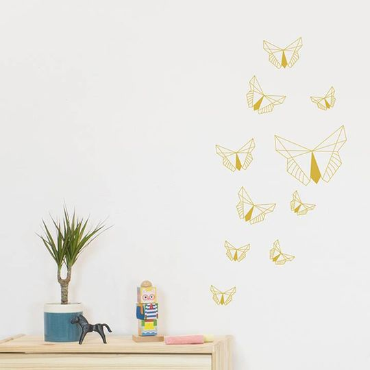 fabelab muurstickers golden butterfly