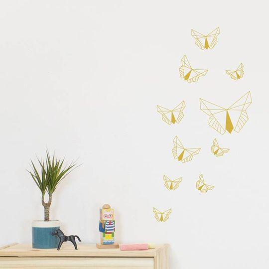 fabelab wall stickers golden butterflies