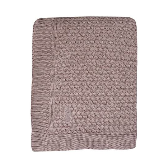 mies & co knitted cotton crib blanket pale pink 80x100 cm
