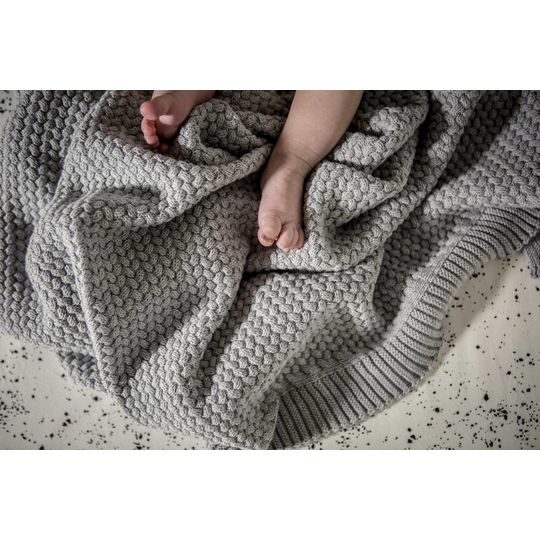 mies & co knitted cotton crib blanket soft grey 80x100 cm