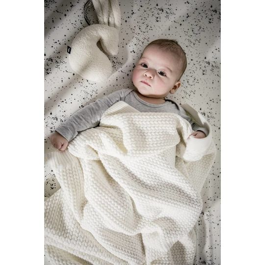 mies & co knitted cotton cot blanket offwhite 110x140 cm