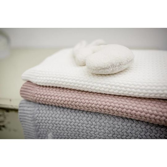 mies & co knitted cotton cot blanket pale pink 110x140 cm