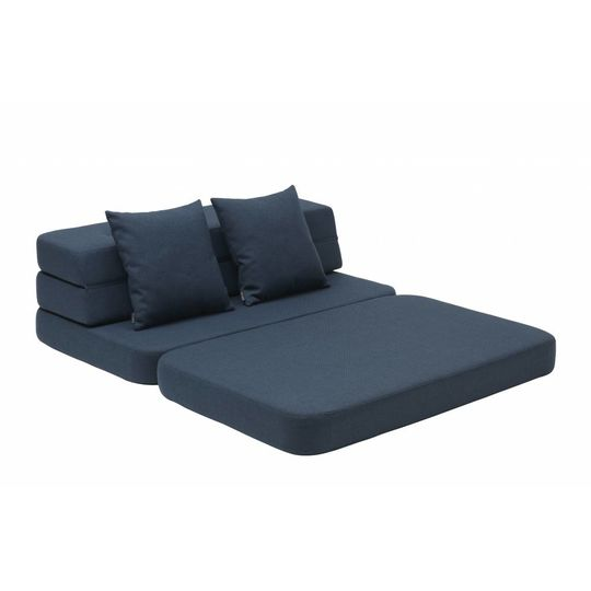 by klipklap KK 3 fold sofa dark blue with black buttons (120cm)