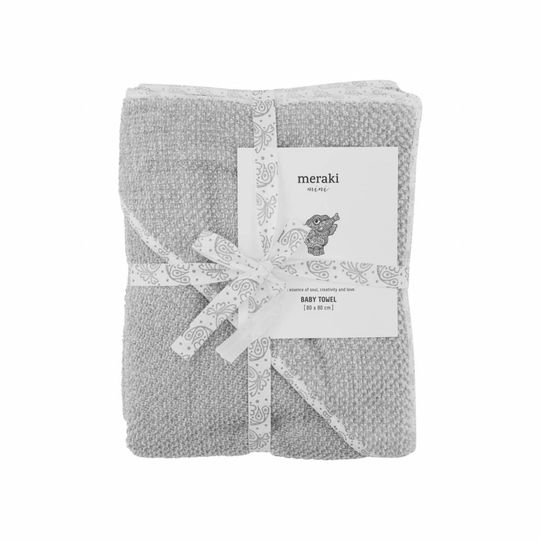 meraki baby towel / bathcape grey 80x80