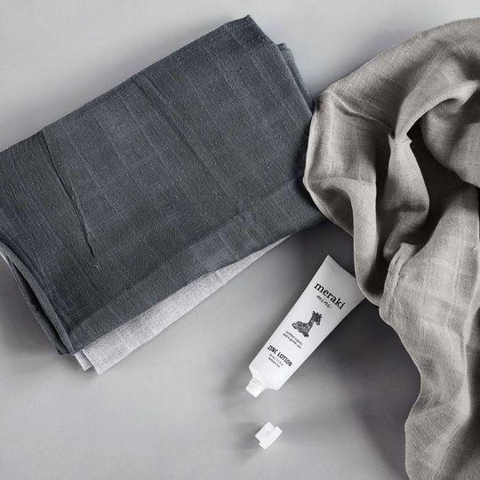 meraki muslin cloths 3-pack grey