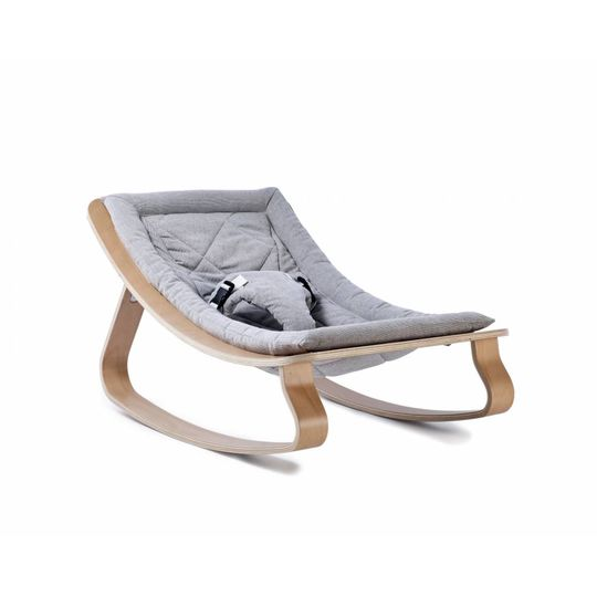 charlie crane  bouncer / baby rocker levo beech with sweet grey cushion