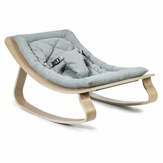 charlie crane  bouncer / baby rocker levo beech with aruba blue cushion