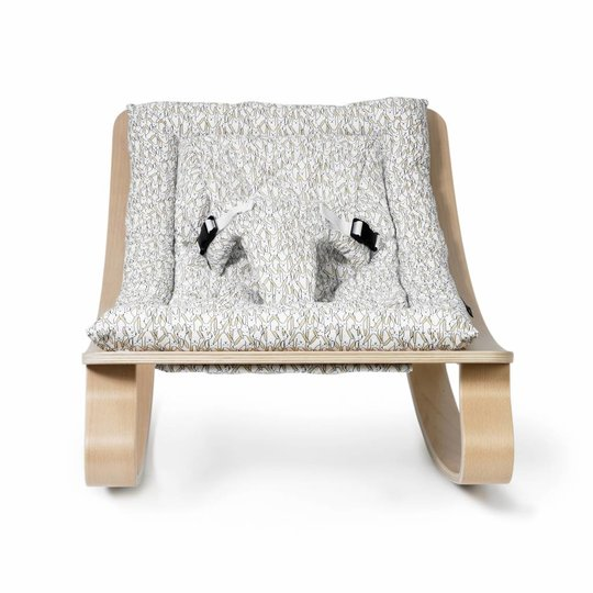 charlie crane  bouncer / baby rocker levo beech with rabbit cushion