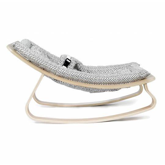 charlie crane  bouncer / baby rocker levo beech with diamond b/w cushion