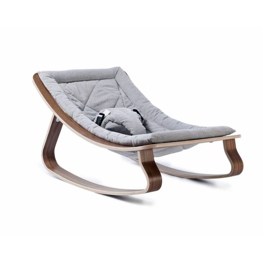 charlie crane  bouncer / baby rocker levo walnut with sweet grey cushion