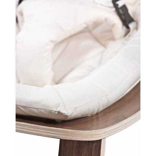 charlie crane  bouncer / baby rocker levo walnut with gentle white cushion