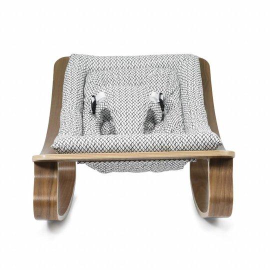 charlie crane  bouncer / baby rocker levo walnut with diamond b/w cushion
