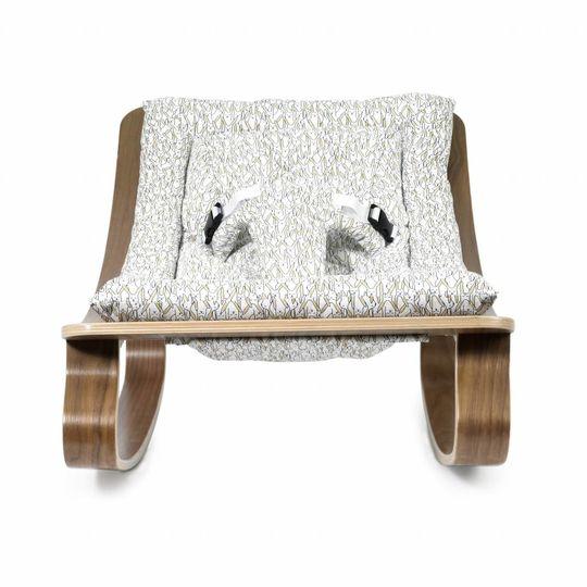 charlie crane  bouncer / baby rocker levo walnut with rabbit cushion